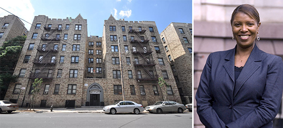 From left: 2911 Barnes Avenue in Bronxwood and Laeticia James
