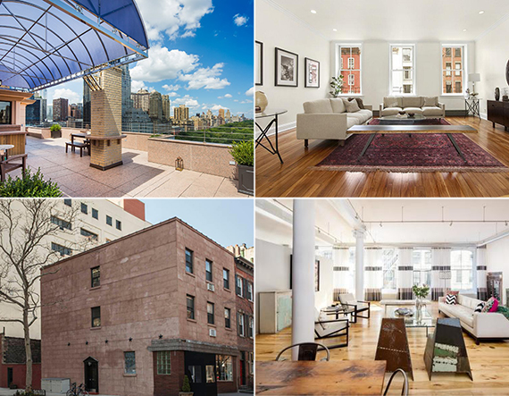 Clockwise from top left: 230 Central Park South, 17 Harrison Street, 88 Franklin Street and 447 Hudson Street