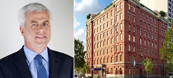 Tom Shapiro and a rendering of 101 West 78th Street