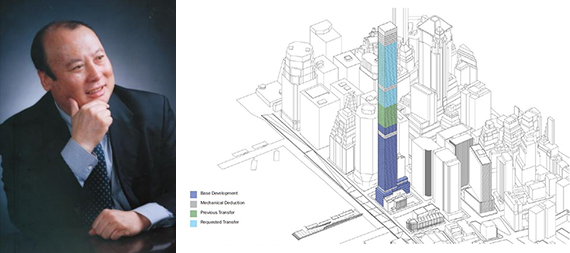 From left: Lu Zhiqiang and a diagram of the planned 80 South Street (credit: Oceanwide Holdings)