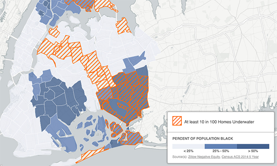 A map showing neighborhoods where 10% or more of mortgages are underwater, with the proportion of African Americans living in the neighborhood overlaid (credit: Christopher Cardinal / Center for NYC Neighborhoods)