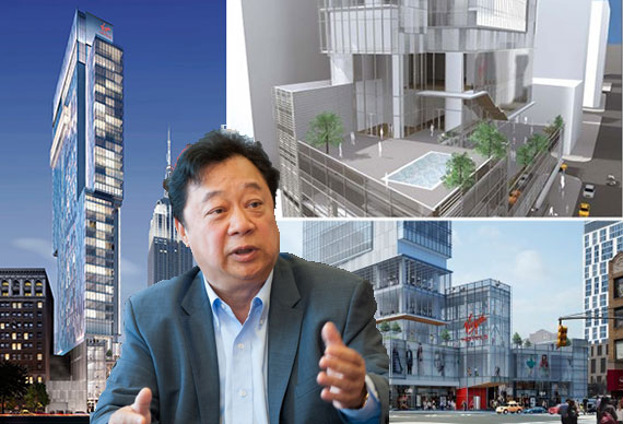 John Lam and renderings of the Virgin Hotel (credit: VOA Architects)