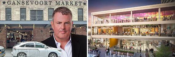 Michael Brais with Gansevoort Market in the Meatpacking District and a rendering of the Empire Outlets on Staten Island