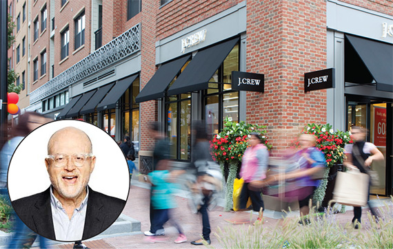 Assembly Row in Somerville, Mass. is targeting newcomers with retail in the mix, including J. Crew. (Inset J. Crew CEO Mickey Drexler)