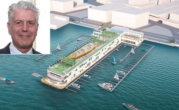 Rendering of Pier 57 (inset: Anthony Bourdain)