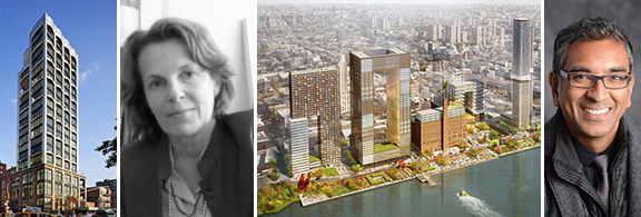 From left: Rendering of 200 11th Avenue, Annabelle Selldorf, rendering of the Domino Sugary Refinery and Vishaan Chakrabarti