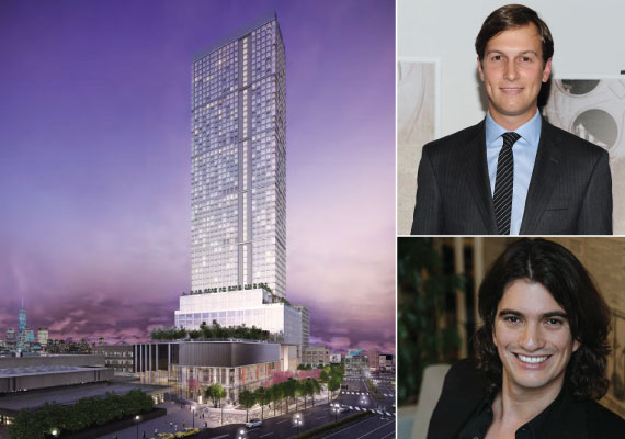 Rendering of One Journal Square (inset from top: WeWork's Adam Neumann and Jared Kushner)