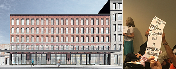 From left: Rendering of 60-68 Gansevoort Street and protestors at the Landmarks hearing