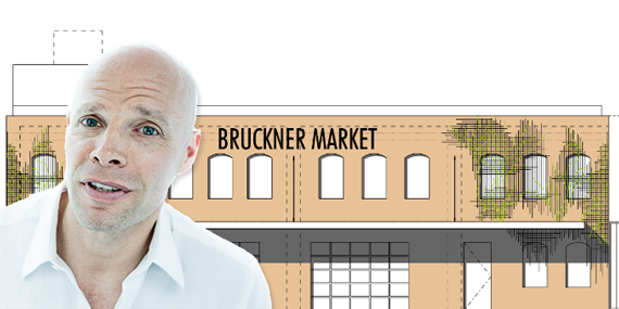 "Keith Rubenstein and a rendering of the ""Bruckner Market"""