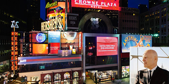 Times Square Crowne Plaza (inset: Steven Roth)