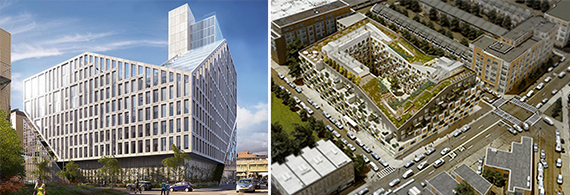 Rendering of 42-20 27th Street in Long Island City and a rendering of 10 Montieth Street (both credit: ODA New York)