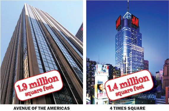 Midtown buildings with the most space to fill