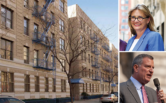 8-68 West 111th Street (inset from top: Vicki Been and Bill de Blasio)