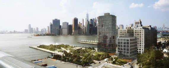 Rendering of the two towers at Pier 6 in Brooklyn Bridge Park (credit: ODA)