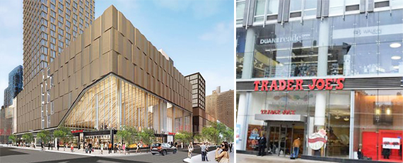 Rendering of Essex Crossing (credit: Handel Architects) and the facade of Trader Joe's at 2073 Broadway (credit: Bisnow)