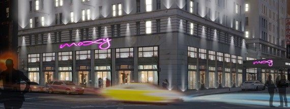 Rendering of Moxy Times Square South at 485 7th Avenue (credit: Lightstone)