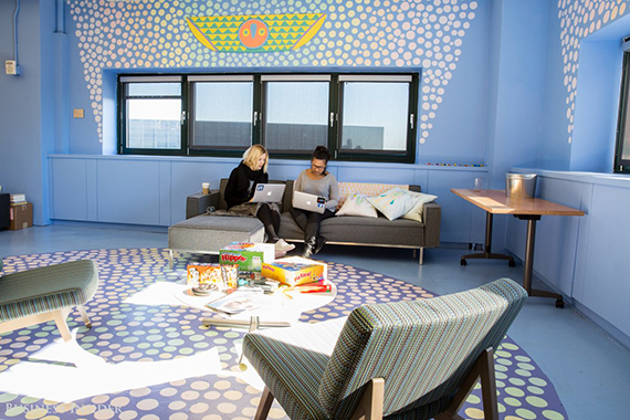 But this office's defining trait is its art. There are creative works scattered throughout the floors, created by visiting artists and employees alike. (credit: Sarah Jacobs via Business Insider)
