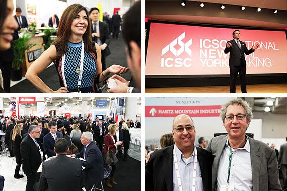 Clockwise from top: Adelaide Polsinelli, Kevin Plank, David Firestein and Todd Bassen and a crowd at ICSC