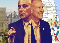 From left: A rendering of the Burnham Lakefront, Mayor Rahm Emanuel, former Governor Bruce Rauner, and a map of Opportunity Zones in Chicago (Credit: Getty Images; Map by Haru Coryne)