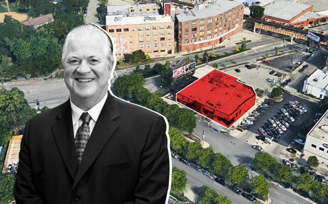 Marquette Companies CEO Nick Ryan and an aerial view of 1400 West Randolph Street (Credit: Marquette Companies and Google Maps)
