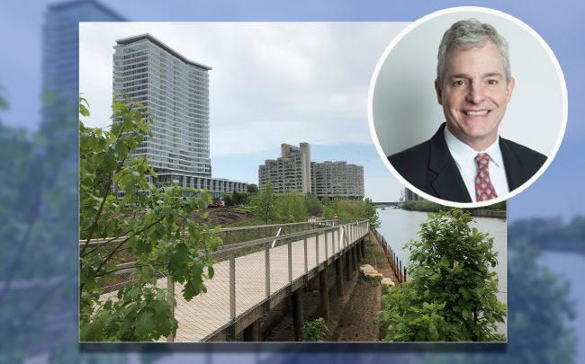 Lendlease's Executive General Manager, Chicago, Development Thomas Weeks and South Branch Riverwalk (Credit: Lendlease)