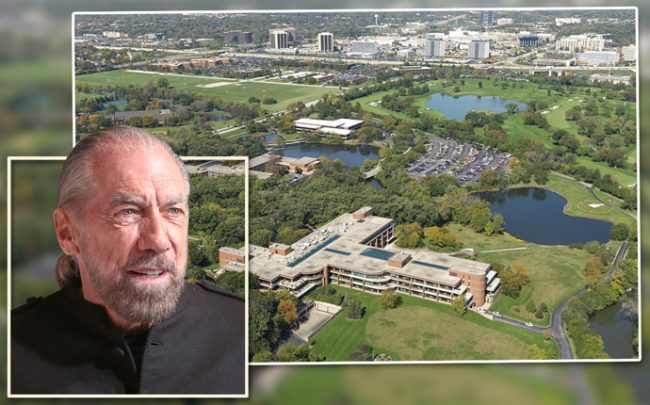 John Paul DeJoria and an aerial pic of the property (Credit: JLL)