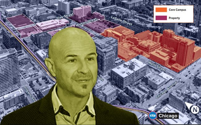 Dr. Mark Jobe and a map of the Moody Bible Institute property (Credit: Moody Bible, HFF)