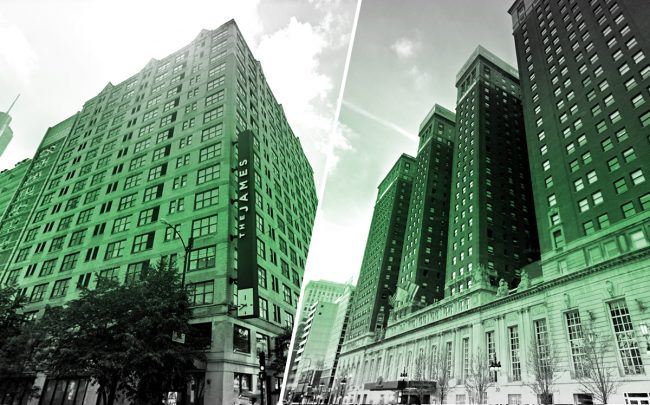 The 21c Museum Hotel at 55 E Ontario Street and the Hilton at 720 S. Michigan Avenue (Credit: Google Maps)
