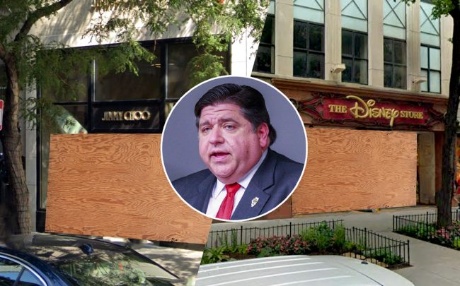 Illinois Gov. J.B. Pritzker with Jimmy Choo and Disney in Magnificent Mile (Credit: Lt. Col. Bradford Leighton via Wikipedia Commons, Google Maps)