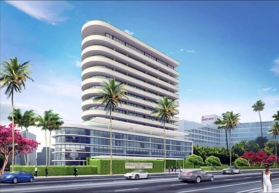 A rendering of the planned Waldorf Astoria hotel