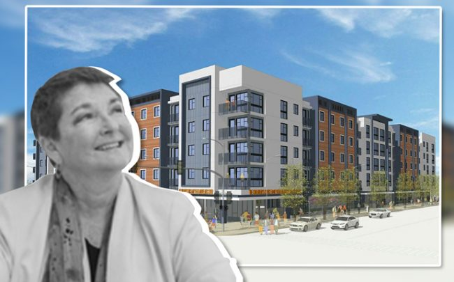 Bridge Housing CEO Cynthia Parker and a rendering of the view from Walnut and Anaheim (Credit: SVA Architects)