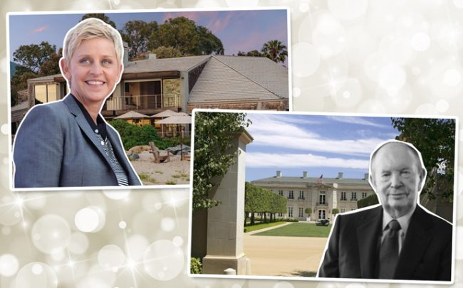 From left: Ellen DeGeneres and her home and Jerry Perenchio and the Chartwell Estate