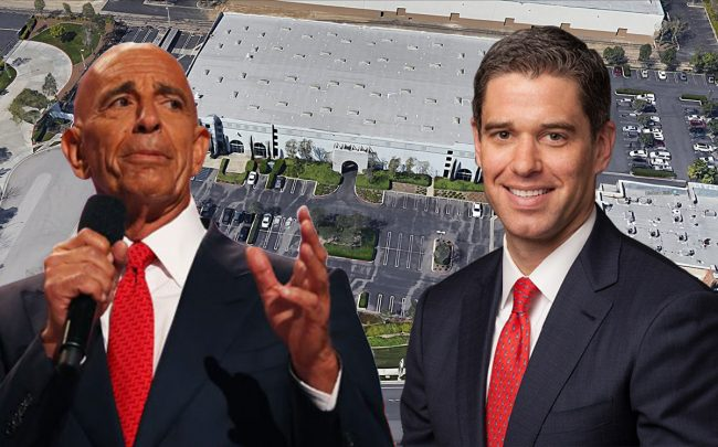 From left: Colony Capital's Tom Barrack, 8250 Milliken Avenue and Lincoln Property Co.'s David Binswanger (Credit: Getty Images, Google Maps)