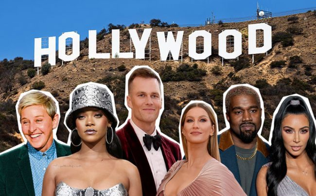 From left: Ellen DeGeneres, Rihanna, Tom Brady, Gisele Bündchen, Kanye West & Kim Kardashian (Credit: Getty Images)
