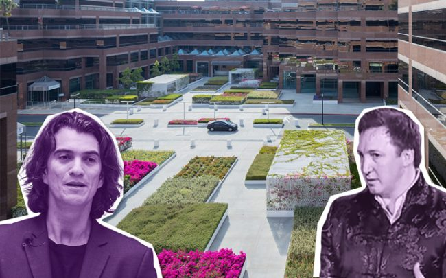 WeWork's Adam Neumann and Onni Group President Rossano de Cotiis with a rendering of Wilshire Courtyard (Credit: Getty Images and Michael Maltzan Architecture)