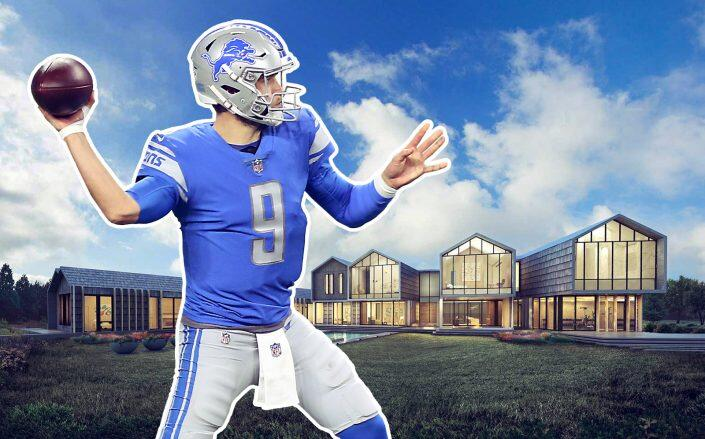 Matthew Stafford and renderings of his future Hidden Hills manse. (Getty, EGC Real Estate)