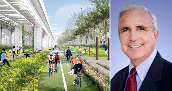 Rendering of the Underline at the Metrorail University Station and Miami-Dade Mayor Carlos Gimenez, who supports the proposed redevelopment.