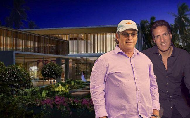 Todd Glaser, Rony Seikaly and a rendering of spec home at 1635 W 22nd Street (Credit:Mary Beth Koeth, Getty Images)