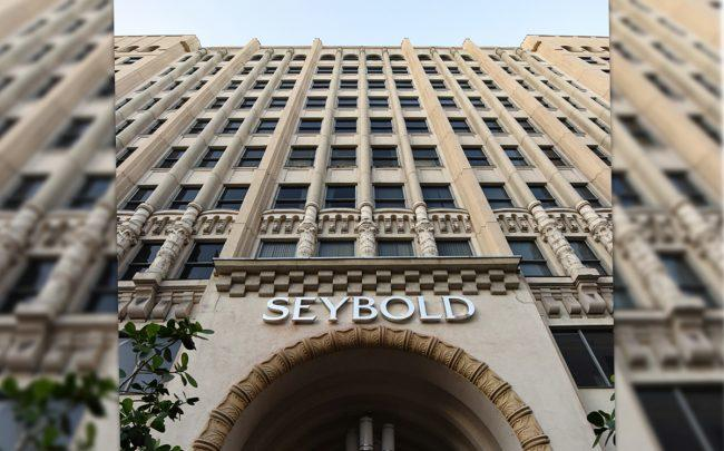 The front entrance of the Seybold building at 36 N.E. First Street
