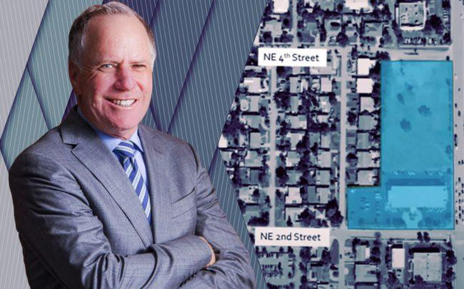 Centrum's Arthur Slaven and an aerial view of the project (Deerfield Beach City Commission)
