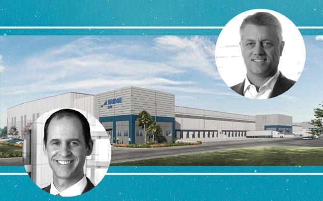 PGIM Real Estate CEO Eric Adler (left) and Bridge CEO Steve Poulos with a rendering of the cold storage facility (Photos via PGIM; Bridge; Ware Malcolm)
