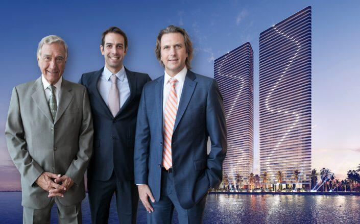 Armando, Jose, and Carloe de Melo with renderings of Aria Reserve (Melo Group)