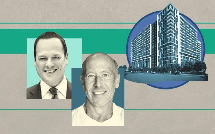 Hyperion Group CEO Rob Vecsler, Starwood Capital CEO Barry Sternlicht and a rendering of 350 South Australian Avenue (M18 PR, Wikimedia)