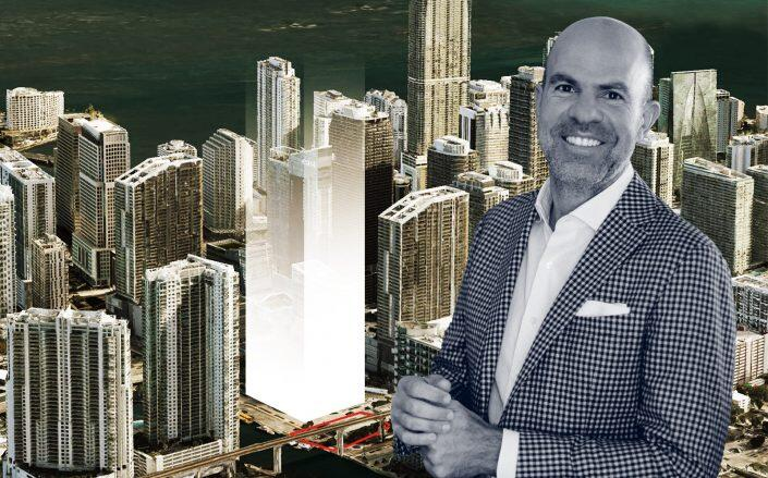 Harvey Hernandez and a rendering of his Brickell project