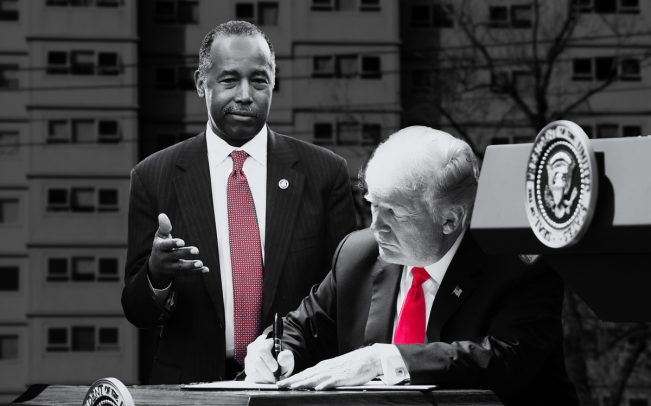 U.S. Department of Housing and Urban Development secretary Ben Carson and President Donald Trump (Credit: Getty Images and iStock)