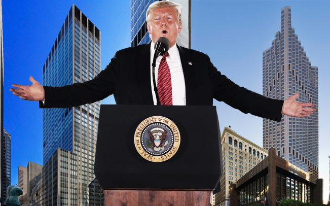 President Donald Trump with 1290 Sixth Avenue in New York (left) and555 California Street in San Francisco (right) (Credit: Getty Images)