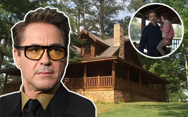 "Robert Downey Jr., the guest cabin at Bouckaert Farm, and (inset) as featured in ""Avengers: Endgame"" (Credit: Marvel Studios, AirBNB and Getty Images)"