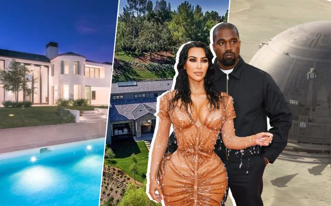 Kim Kardashian West and Kanye West with theirBel-Air mansion, the Hidden Hills house, and a Star Wars-themed dome (Credit: Wikipedia, Compass, Douglass Elliman, and Getty Images)