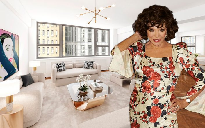 Joan Collins and 110 East 57th Street #8EFG (Getty, BHS)