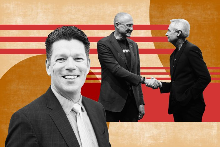 From left to right: Keller Williams President Marc King, Carl Liebert, CEO of KWx, the parent holding company of KW, and Gary Keller, CEO of KWx and Keller Williams.  (Keller Williams / Illustration by Kevin Rebong for The Real Deal)